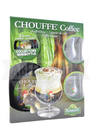 Liquore Chouffe Coffee 70cl + mini 0.5cl+ 2 bicchieri Chouffe 7cl- Rubbens